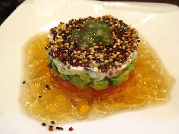 Copper River Salmon Tartare Avocado Cream Cheese Deep Fried Quinoa Wasabi Marinated Vegetable Dashi Gelatin