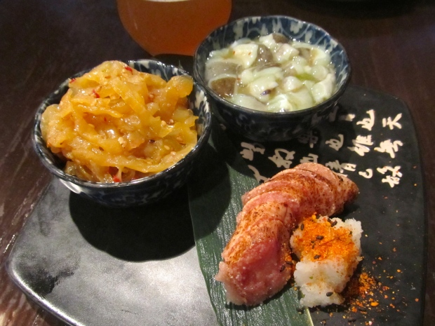 Tsukemono Sampler: Spicy Jellyfish, Tako Wasa, Seared Spicy Cod Roe