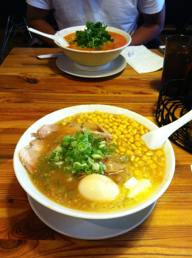 Front: Miso Butter Corn Ramen Back: